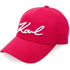Karl Lagerfeld signature logo cap (€59) ❤ liked on Polyvore featuring accessories, hats, cotton hat, cap hats, red cap, cotton cap and karl lagerfeld