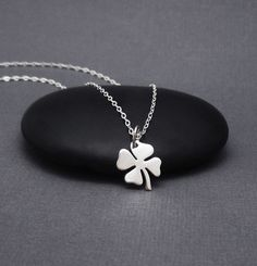 Four Leaf Clover Necklace Sterling Silver by themoonflowerstudio