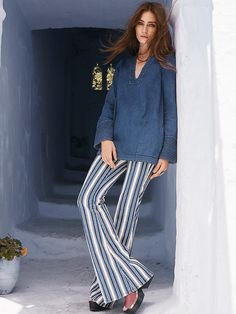 Jolene Hip Hugger Striped Flare | In a unique striped pattern, these mid-rise flares are fitted through the hip and thigh and feature figure flattering front and back slip pockets.  Soft denim fabrication with a slight stretch.  Button closure and zip fly.
