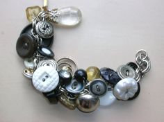Vintage Button Bracelet in Silver, Black and White, upcycled jewelry
