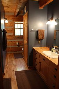 Interior Paint Colors For Log Homes 1000 Ideas About Log Home Interiors On Pinte. - Cabin Vibes Interior Paint Colors For Log Homes 1000 Ideas About Log Cabin Paint Colors, Interior Paint Colors, Wall Colors, Rustic Paint Colors, Log Cabin Bathrooms, Rustic Bathrooms, Cozy Bathroom, Basement Bathroom, Pine Trim