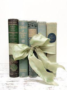 Decorative Books, Ornate Books,1800s,Hemlock,Antique Books, Mint and Gold Books ~