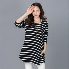Free Shipping, 2017 Spring Korean Style Women Clothing Casual Loose Long sleeve Striped Pockets Thick T-shirt #Affiliate