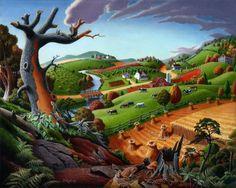 Autumn Appalachian Wheat Field Harvest Farm Landscape Painting, Prints