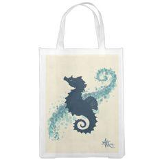 Seahorse Silhouette Reusable Grocery Bag ♥ Re-use and bring your own bags to help keep plastic bags out of our oceans!