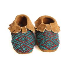 Suede and Huipel Baby Moccasins