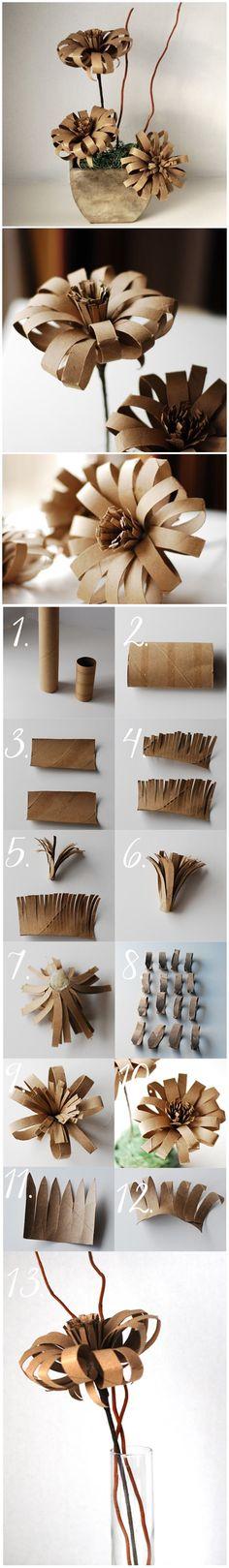 Flor de rollos de #papel higienico paso a paso