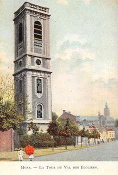 Ancienne carte postale colorisée : La Tour du Val des Ecoliers, Mons