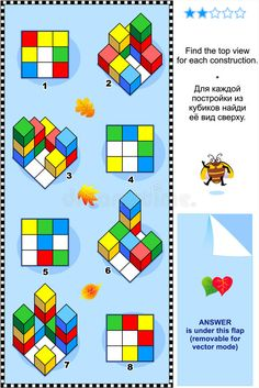 Illustration about Mental gym visual math puzzle (suitable both for kids and adults): Find top view for each construction of colorful building blocks (toy cubes). Illustration of building, grade, brain - 15499648 Brain Activities, Montessori Activities, Classroom Activities, Learning Numbers Preschool, Kids Learning, Logic Problems, Triangular Prism, Coding For Kids, Maths Puzzles