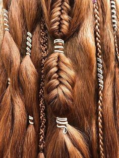 Dreadlock Beads Set – 3 Haircuff Set – Dread Beads, Custom Set of Hair Beads for Dreads, Hair Jewelry for Dreadlocks, Dreadlock Cuff Set - Hair Style 2019 Dreadlock Jewelry, Loc Jewelry, Viking Jewelry, Hair Jewelry For Braids, Hair Clips For Braids, Dread Hair, Baby Jewelry, Dread Beads, Braid Hair