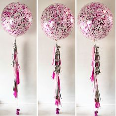 Large 3ft confetti balloon with tassels with custom letters with 'emma""