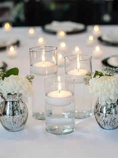 36 Floating Candles and Cylinder Vases Set of 36 - Home Decoration Unique Centerpieces, Wedding Table Centerpieces, Flower Centerpieces, Wedding Decorations, Centerpiece Ideas, Floating Candle Centerpieces, Floating Candles Wedding, 18 Candles, Graduation Centerpiece