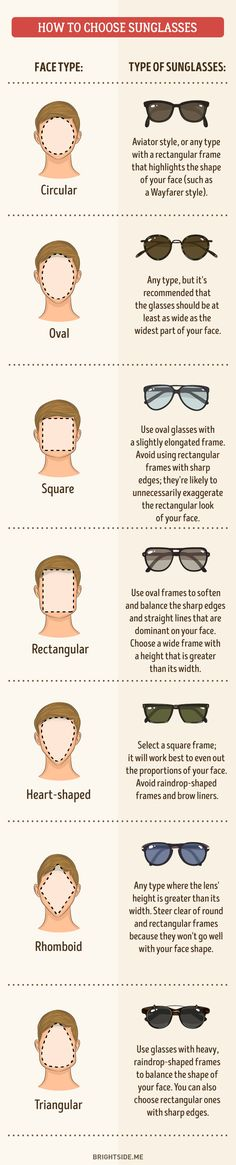 How to choose frames for sunglasses to best suit your face shape.  Some tips to help explore your wardrobe options for men - Imgur