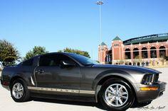 Ford Mustang in front of Ranger's Stadium Arlington, Texas