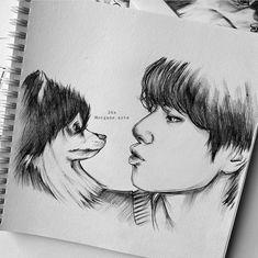 Kpop Drawings, Dark Art Drawings, Art Drawings Sketches Simple, Pencil Art Drawings, Taehyung Fanart, Celebrity Drawings, Sketch Painting, Art Sketchbook, Anime Character Drawing