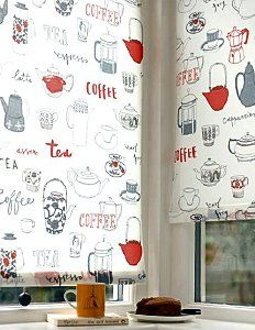 tea and coffee blind fabric design - Kitchen Blind Ideas