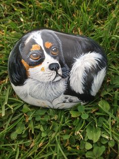 image of King Charles cavalier painted on stone...