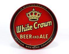 WHITE CROWN BEER & ALE Akron Brewing Beer Serving Tray