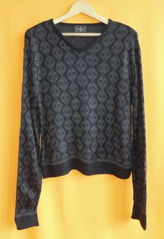 Fendi Roma Acrylic Knit Sweater FF Zucca Pattern Black Vintage Designer Winter V Neck Jumper Made In Italy (27/11) by InPersona on Etsy