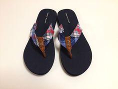 26fb5c2ec79c0d Tommy Hilfiger Womens Camary Plaid Checker Fabric Flip Flops Thong Size 9 M  NEW  fashion