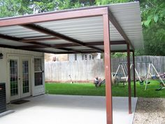 Attached Lean To Patio Cover North West San Antonio - Carport Patio Covers Awnings San Antonio - Best Prices in San Antonio! Carport Patio, Backyard Fences, Patio Roof, Patio Deck Designs, Carport Designs, Patio Design, Pergola With Roof, Pergola Shade, Mexican Restaurant Design