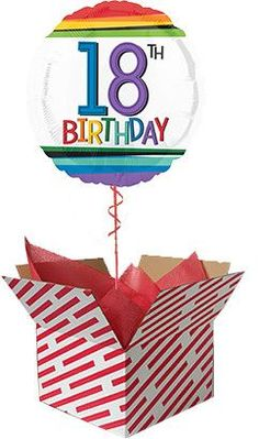 Sent already inflated with helium in a large candy stripe box, our Spot On Birthday Balloon Gift is sure to be a big surprise. Order your birthday balloon online for fast UK delivery. Gifts For 18th Birthday, Baby Boy 1st Birthday, 40th Birthday, Birthday Celebration, 60th Birthday Balloons, Balloon Gift, Balloon Box, 50th, Rainbow