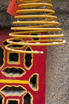 China, Macau, The A Ma Temple, huge hanging incense coils - detail