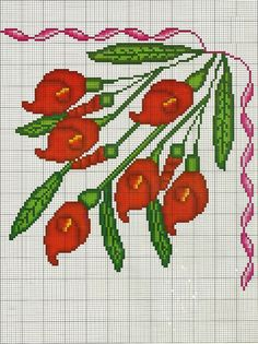 This Pin was discovered by Ire Cross Stitch Borders, Cross Stitch Flowers, Cross Stitch Designs, Cross Stitching, Cross Stitch Embroidery, Cross Stitch Patterns, Halloween Crochet, Christmas Cross, Flower Crafts