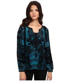 Hale Bob American Beauty Silk/Rayon Velvet Burnout Blouse Emerald - 6pm.com