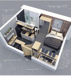 Design and visualization of interior of a compact apartment with an area of sq. in a reconstructed building of XIX century Sims 4 House Plans, House Layout Plans, Sims House, Small House Plans, House Layouts, Room Design Bedroom, Home Room Design, Dream Home Design, Sims 4 House Design