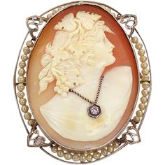 Vintage 14K gold shell cameo habille brooch or pendant from luckyladyvintage on Ruby Lane