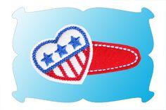 Patriotic Heart Snap Clip Mini