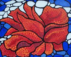 """RED BLOOM"" acrylic  by Diane Marie     mosaic painting from southwestern tour series.  Red Myrtle flower 9 x 12 x 1   $325"