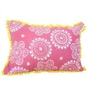 Pink /White print with yellow Pom Pom Cushion Cover $45