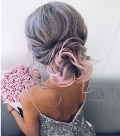 Grey and pink hair, elegant homecoming or bridal updo. Bouquet of pink roses.