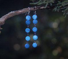 Ombre Blue Earrings Denim blue Indigo Blue by LaughingDogStudio, $26.00
