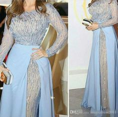 2017 Zuhair Murad Shiny Prom Dresses Long Sleeves Full Beading Sky Blue Overskirts Arabic Floor Length Chiffon Bling Evening Gowns Elie Saab Plus Size Prom Evening Beaded Evening Gowns Sexy Luxury Formal Gowns Online with $242.0/Piece on Magicdress2011's Store | DHgate.com