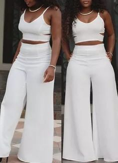 All White Party Outfits, Classy Outfits, Chic Outfits, Fashion Outfits, White Party Attire, White Outfits For Women, White Two Piece Outfit, All White Outfit, Two Piece Pants Set