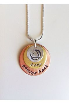 Recovery necklace. Keep coming back. AA by FreckleFaceCreations, $30.00