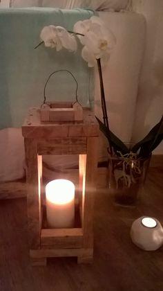 lanterne bois , industriel , DIY , bricolage , récup , bougie, lumière