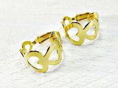 Vintage Gold Hoop Earrings, Gold Heart Hoop Earrings, Clip-On Earrings, 1970s Vintage Costume Jewelry, Simple Modern Jewelry by RedGarnetVintage
