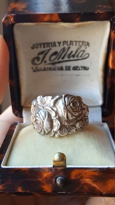 Vintage Spanish Art Nouveau Sterling Silver Ring Roses Flowers Floral Ring Size 7.75 US Modernista Silver Flower Jewelry Ring by PinyolBoiVintage on Etsy