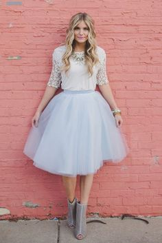 Our lovely Serenity tulle skirt is made with layers of beautiful light blue tulle -- Pantone Color of the Year for - Available color(s): Serenity - Length: - Satin waistband - Hidden back zi Tulle Wedding Skirt, Tulle Dress, Dress Skirt, Dress Up, Tulle Skirts, Tulle Tutu, Midi Skirt, Modest Fashion, Fashion Outfits