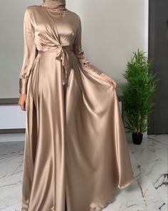 Modest Dresses, Satin Dresses, Stylish Dresses, Simple Dresses, Dresses With Sleeves, Bridesmaid Dresses, Wedding Dresses, Modesty Fashion, Muslim Fashion