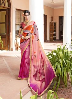 Sarees online shopping and check latest collection in saree. Buy now! This resplendent multi colour print work printed saree. Available cod and customization.