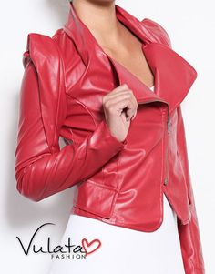 Faux Leather, Pointed Shoulder, Side Zip Blazer. Available in Black, Red or White. Hot Fall Fashion! http://vulatafashion.com/shop/blazers/side-zip-blazer/