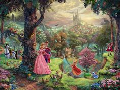 Many of you have let us know how much you love the Disney Dreams Collection pieces and how amazed you are at how closely we match Mr. Kinkade's art. We've decided that we'll let you follow along as we develop Sleeping Beauty! That's right - in real time you'll see how we take the piece of art pictured below and end up with the finished stitched model! We will update you as we progress along. Be sure to check back often to see how the development process unfolds.