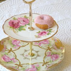 Alice Dresses Up in Gold Pink China Cupcake Stand with Royal Albert Roses For Vintage Weddings, Afternoon Tea, or Holiday Treats. $150.00, via Etsy.