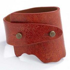 Genuine Wide Wrap Leather Bracelet - Red Color
