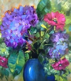 Although this hydrangea painting by Nancy Medina is classified as fine art, I believe Nancy's use of strong, dark values shows us how to make the lighter values really pop! Don't be afraid of darks!